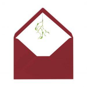 Gefütterter Briefumschlag Mistelzweig, Liner, von Grünstich Papeterie