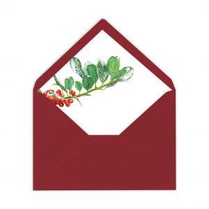 Gefütterter Briefumschlag Vogelbeeren, Liner, von Grünstich Papeterie