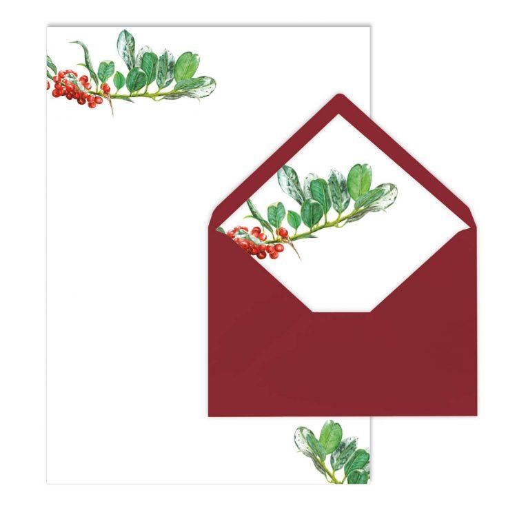 Briefpapier-Set Vogelbeeren, Liner, von Grünstich Papeterie