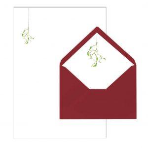 Briefpapier-Set Motiv Mistelzweig, von Grünstich Papeterie