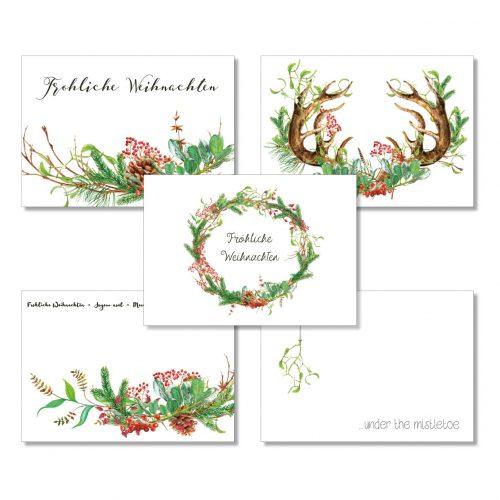 Weihnachtspostkarten-Set II von Grünstich Papeterie
