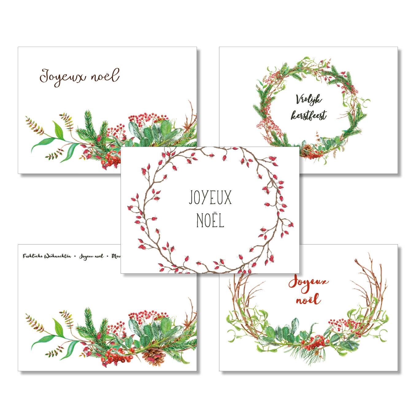 Postkarten-Set Weihnachten international III, 5 Stück