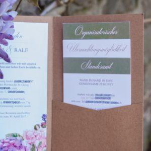 Hochzeitseinladung Hortensien - Pocketfold Kraftpapier