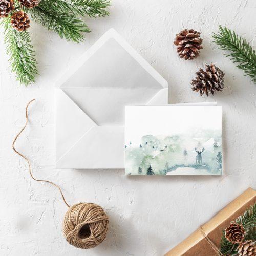 Klappkarte Weihnachten Hirsch Wintergrüße