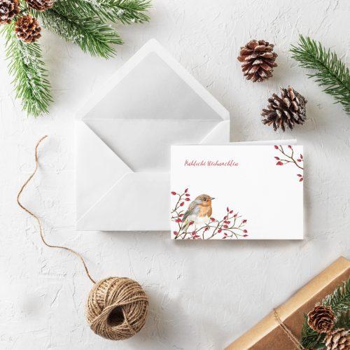 Klappkarte Weihnachten Rotkehlchen Grüße