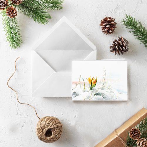 Klappkarte Weihnachten Krokus Wintergrüße
