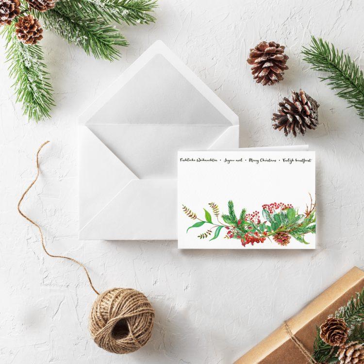 Klappkarte Weihnachten Zweig Mehrsprachig