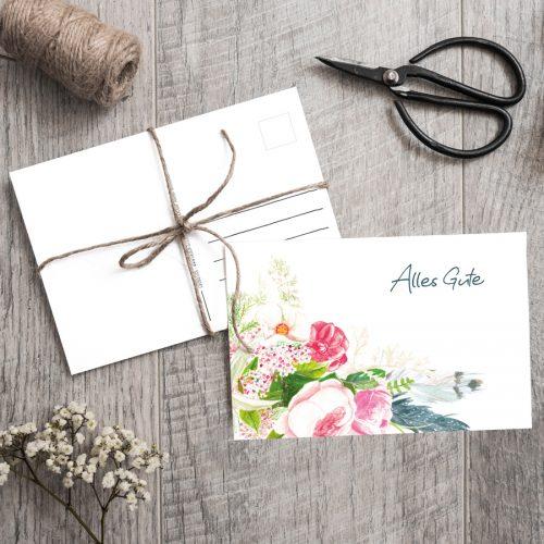 Postkarte Bohostyle Alles Gute