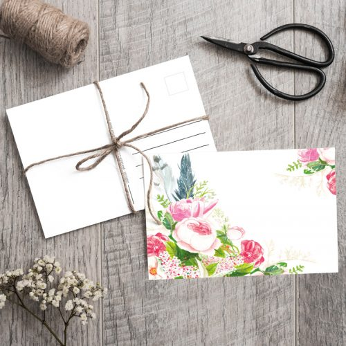 Postkarte Bohostyle Rosen von Grünstich Papeterie