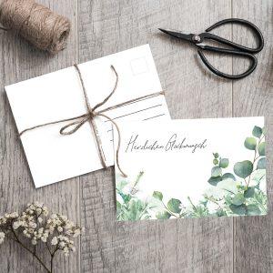 Postkarte Eucalyptus Greenery Glückwunsch
