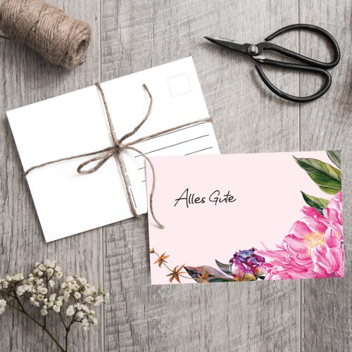 Postkarte Peony Pink Alles Gute