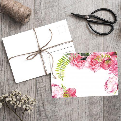 Postkarte Rosen Pink Roses