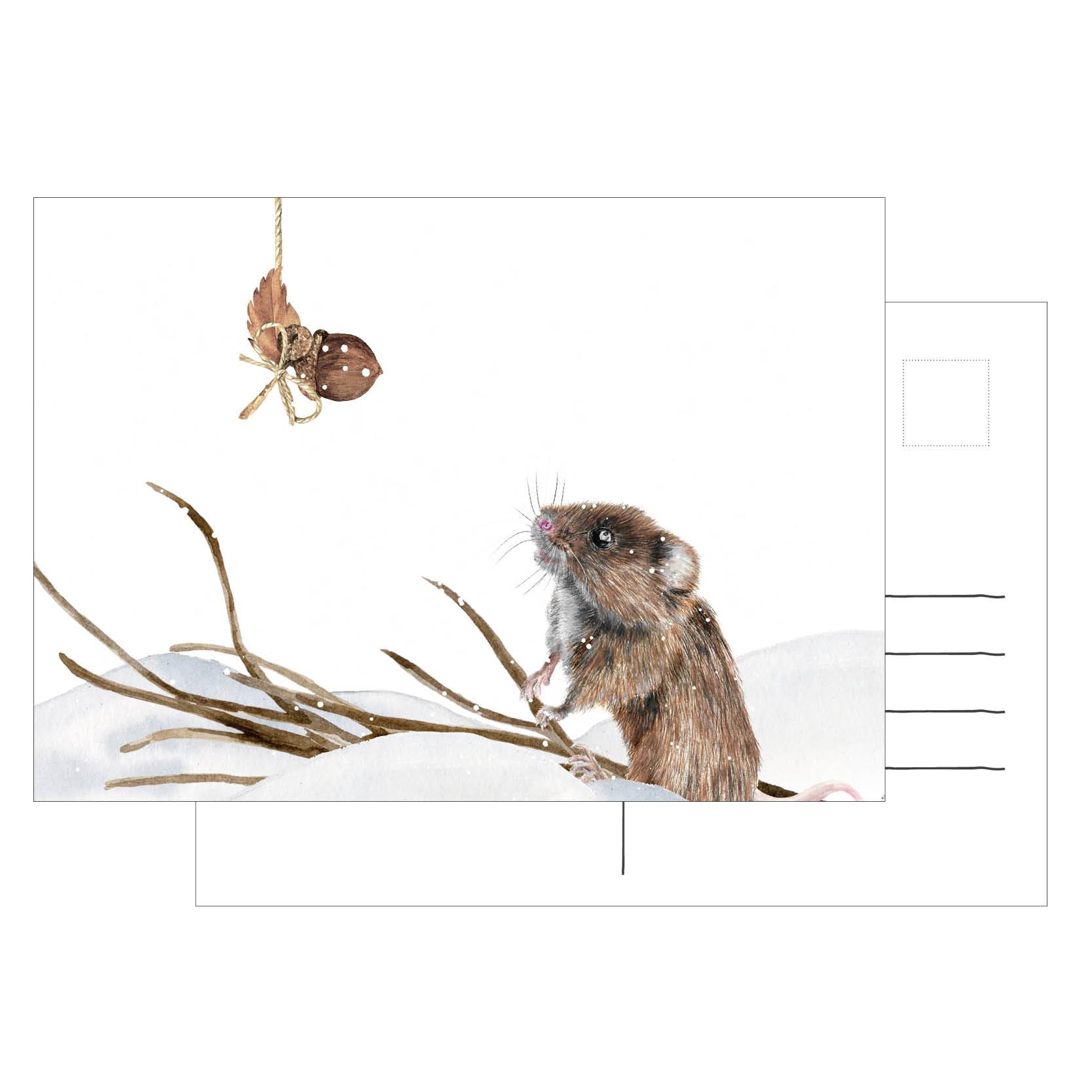 Weihnachtsgrüße Postkarte.Postkarte Weihnachten Maus Weihnachtsgrüße