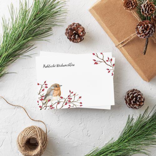 Weihnachtspostkarte Rotkehlchen Grüße