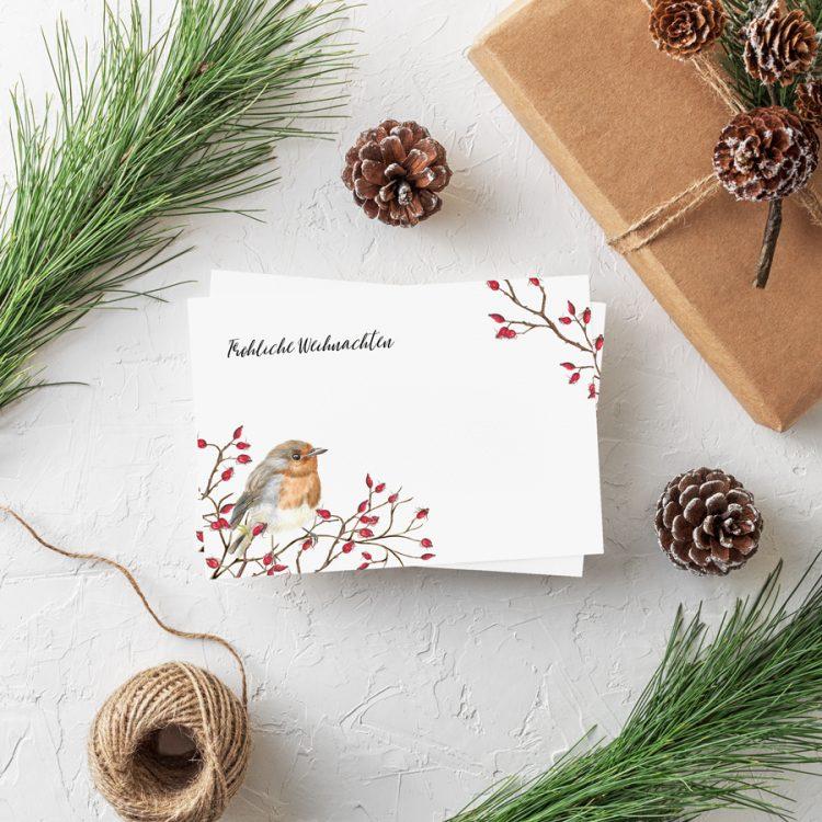 Postkarte Weihnachten Rotkehlchen Weihnachtsgrüße