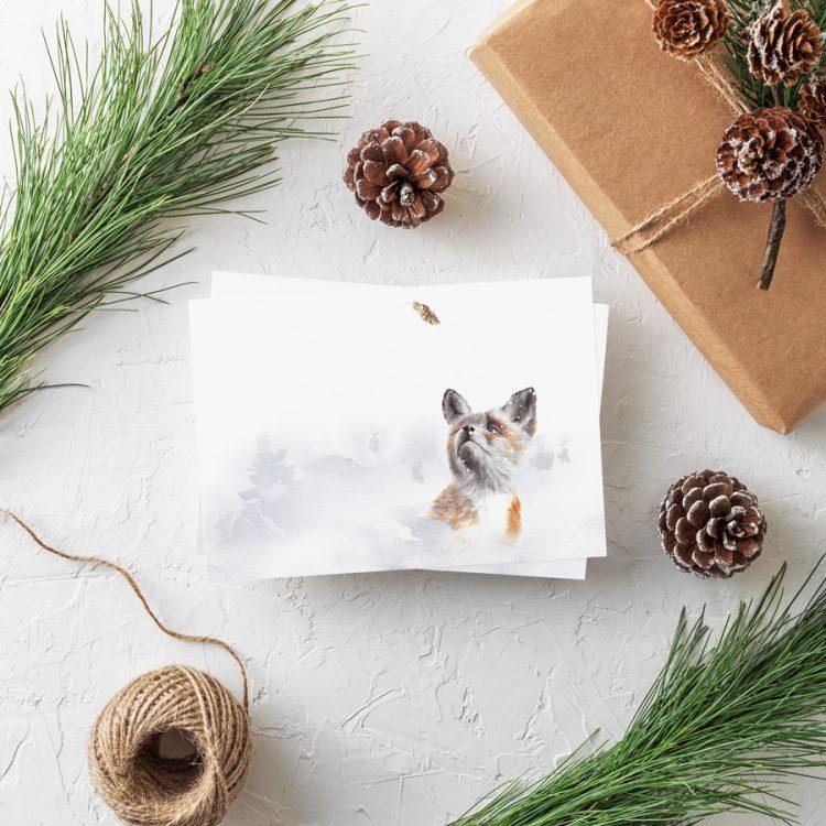 Postkarte Weihnachten Fuchs Weihnachtsgrüße