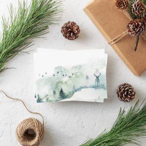 Weihnachtspostkarte Hirsch von Grünstich Papeterie