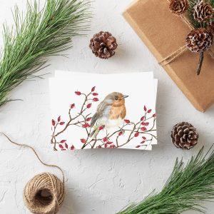 Weihnachtspostkarte Rotkehlchen von Grünstich Papeterie