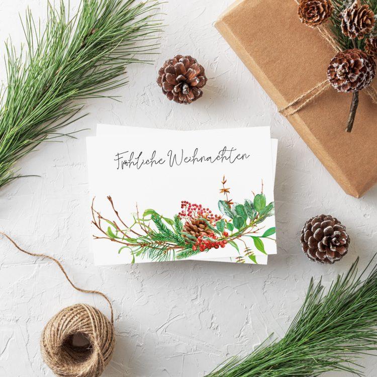 Postkarte Weihnachten Weihnachtszweig Weihnachtsgrüße