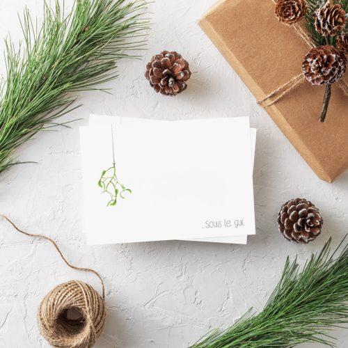Weihnachtspostkarte Mistelzweig Sous le gui