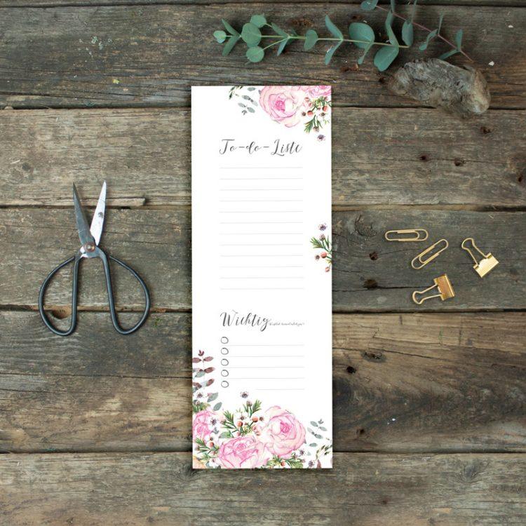 To-Do-Liste Einkaufsliste Rosen von Grünstich Papeterie