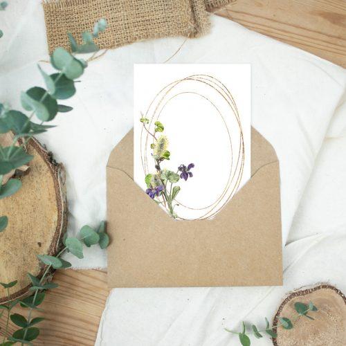 Postkarte Ostergrüße Veilchen