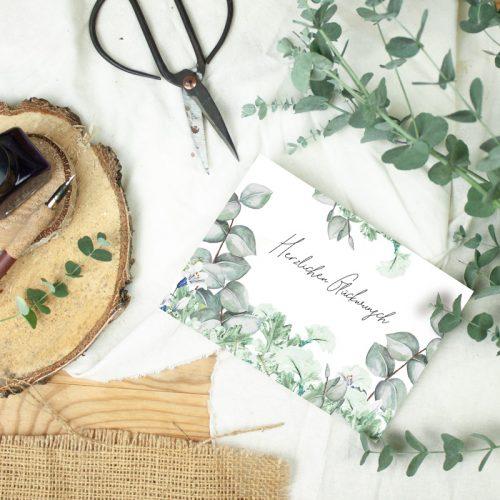 """Klappkarte Eucalyptus """"Herzlichen Glückwunsch"""""""