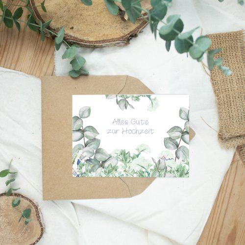 "Klappkarte Eucalyptus ""Gratulation Hochzeit"""