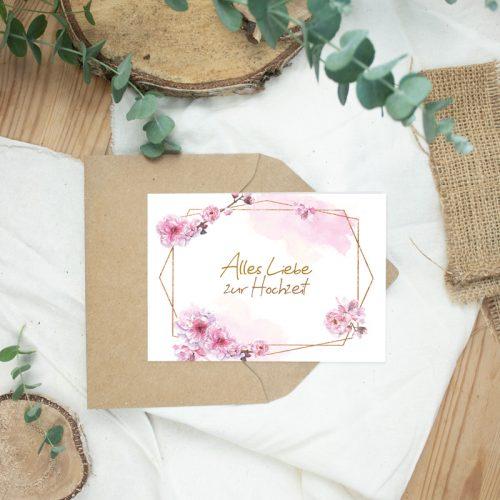 """Klappkarte Sakura """"Gratulation Hochzeit"""""""