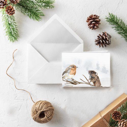 Klappkarte Weihnachten Rotkehlchen und Maus