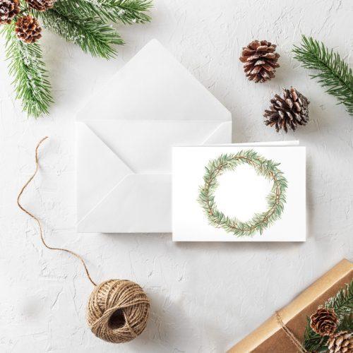 Klappkarte Weihnachten Grüner Kranz