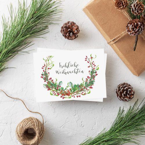 Weihnachtspostkarte Grüner Kranz