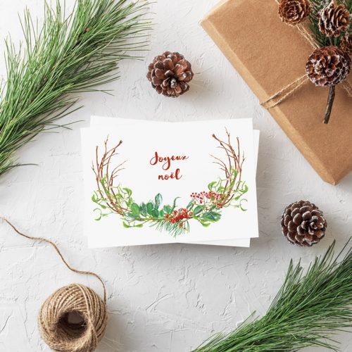 Weihnachtspostkarte Joyeux Noel Weihnachtszweig