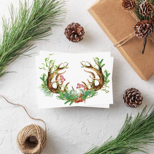 Weihnachtspostkarte Geweih