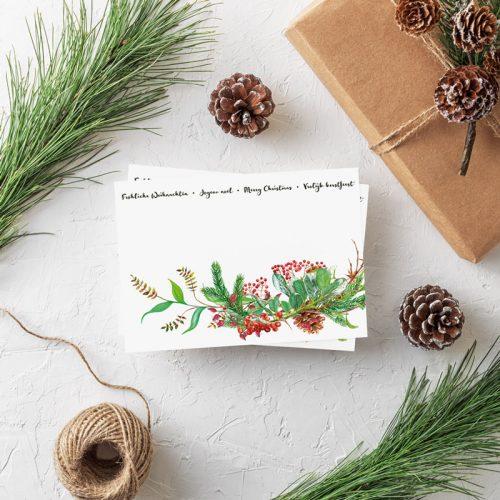 Weihnachtspostkarte internationale Weihnachtsgrüße