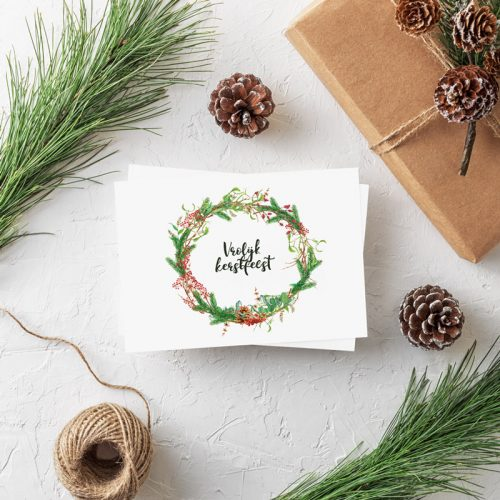 Postkarte Weihnachtskranz Vrolijk Kerstfeest