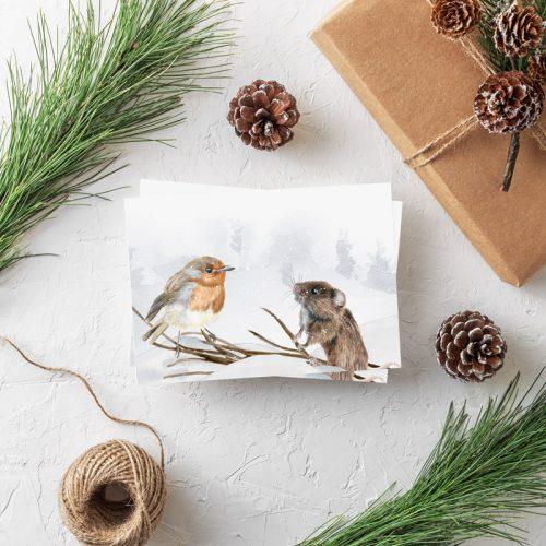 Weihnachtspostkarte Maus mit Rotkehlchen