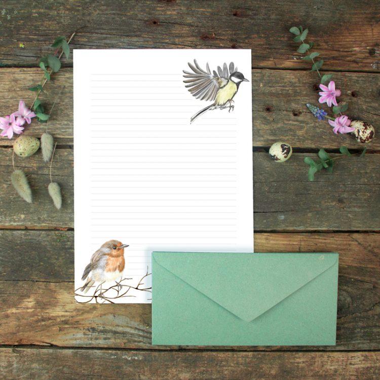 Briefpapier-Set Vögel